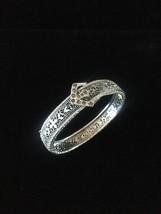 Vintage 20s J.H. Peckham rhodium plated filigree bracelet with buckle detail image 2