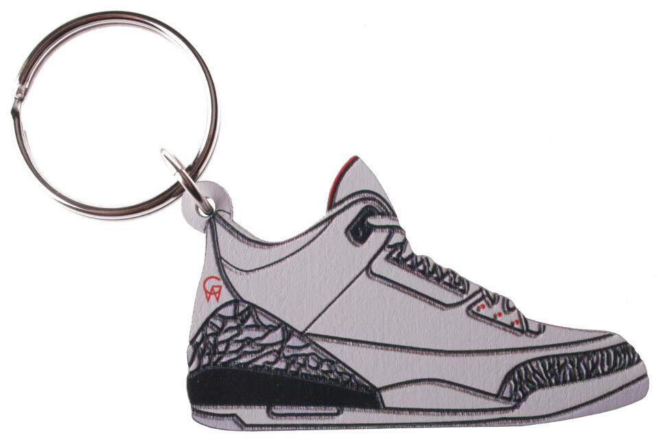 Good Wood NYC White Cement AJ3 3 Sneaker Keychain III Shoe Key Ring Key Fob