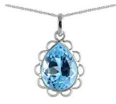 Natural Blue Topaz Pendant-Handmade Teardrop Pendant-925 Sterling Silver... - $42.99