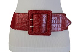 New Women Belt Wide Elastic Red Fashion Hip High Waist Square Buckle Plus M L XL - $14.69