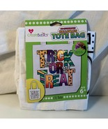 """Paint Your Own Halloween Tote Bag DIY Create Basics Trick or Treat 13 1/2""""  - $5.93"""