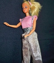 Vtg 80s Barbie Outfit Pink Top Silver Genie Style Overall - $12.76