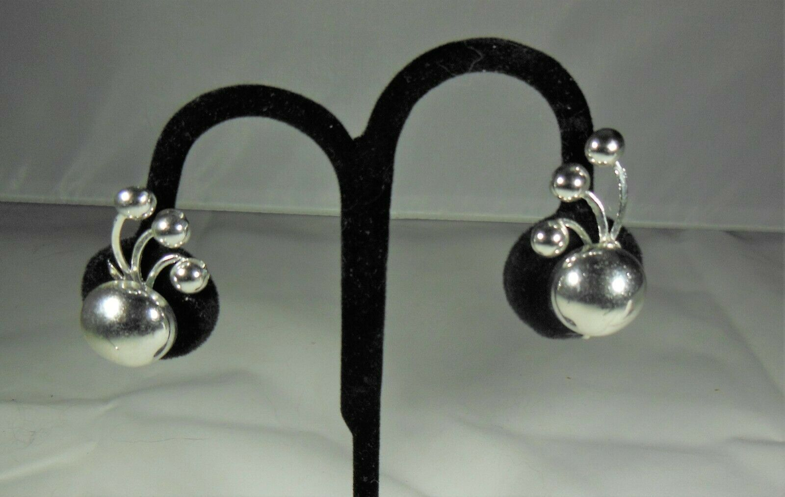 Primary image for Art Deco Silver Tone Screw Back Earrings