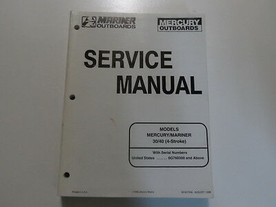 1998 Mercury Mariner Outboards 30 40 4 Stroke Service Repair Manual 90-857046