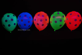 10 Pack 5 Color Assorted 11 inch Blacklight Reactive Latex Polka Dot Balloons - $7.50