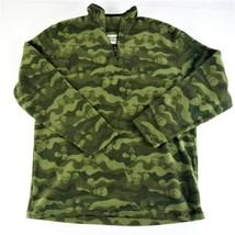 Boy's Old Navy Green Skull Fleece Shirt L 10-12 Long Sleeve Camo - $8.00