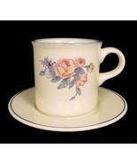 Pfaltzgraff GateHouse Cup Flat Mug & Saucer Pink Blue Floral Ivory China - $3.95
