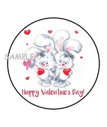 """30 CUTE HAPPY VALENTINES DAY BUNNIES ENVELOPE SEALS LABELS STICKERS 1.5""""... - $4.99"""