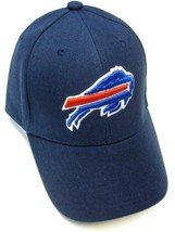 Buffalo Bills NFL Solid Navy Blue Hat Cap w/ Blue Red Logo Adult Adjustable - $14.99