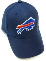 Buffalo Bills NFL Solid Navy Blue Hat Cap w/ Blue Red Logo Adult Adjustable - $305,85 MXN
