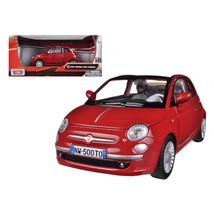 Fiat 500 Nuova Cabrio Red 1/24 Diecast Model Car by Motormax 73374r - $29.91