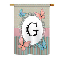 """Butterflies G Initial - 28"""" x 40"""" Impressions House Flag - H130137 - $36.87"""