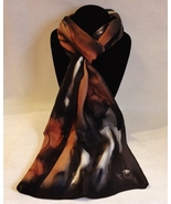 Hand Painted Silk Scarf Copper Brown White Black Rectangle Head Neck Wra... - $44.00