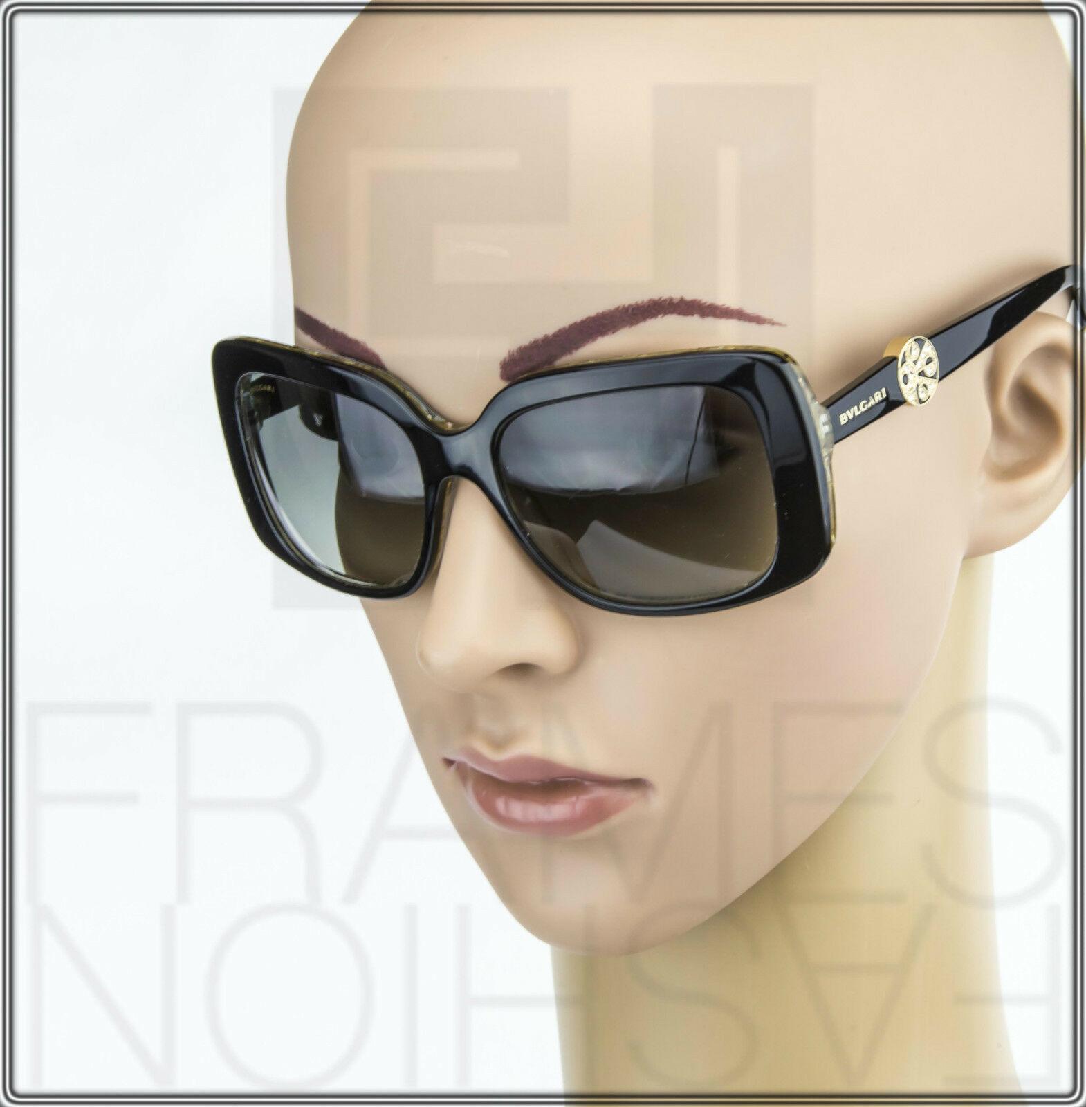 BVLGARI INTARSIO 8146B 5325/11 Black Gold Sunglasses 8146 Square Women Gradient image 2