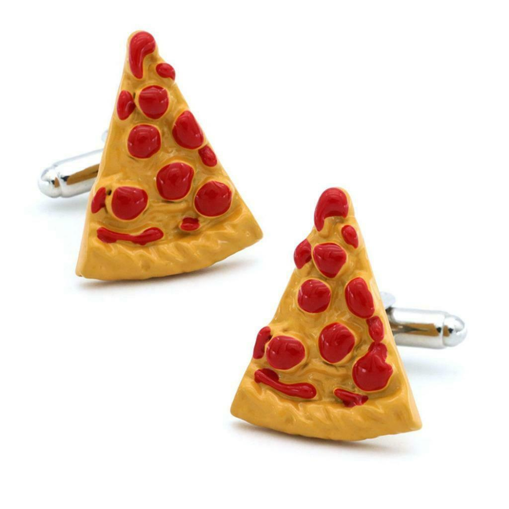 Primary image for PIZZA CUFFLINKS Foodie Chef Pepperoni Slice Enamel Italian Food NEW w GIFT BAG