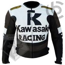 KAWASAKI 1 BROWN MOTORBIKE MOTORCYCLE BIKERS COWHIDE LEATHER ARMOURED JA... - $194.99
