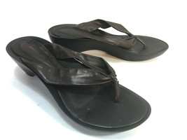 NINE WEST brown leather molded sole thong sandals 7.5 FREE SHIP - $31.63