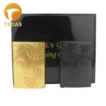 24K Gold Playing Cards With Wooden Box New Year Gifts Black/Golden Poker... - $28.00
