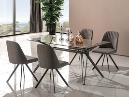 J&M Fresno Contemporary Clear Glass Top Black Metal Base Dining Set 5Pcs