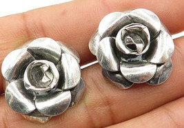 BEAU 925 Silver - Vintage 3D Nature Rose Style French Back Earrings - E3526 - $42.10