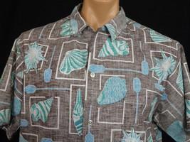 Vintage Kai Nani Hawaiian Aloha Shirt Mens XL Brown Blue RP Seashells Pa... - $37.39