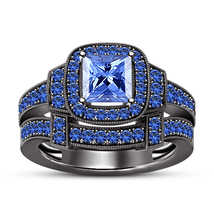 14K Black Gold Plated Solid Bridal Wedding Ring Set 2Ct Blue Sapphire Silver 925 - $120.00