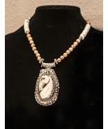 White Grace - Turquoise Jasper Necklace Horse Pendant Antique Silver  - $210.00