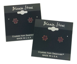 Bianca Stone January Birthstone Stud Earrings With Crystals Made By Swar... - $9.99