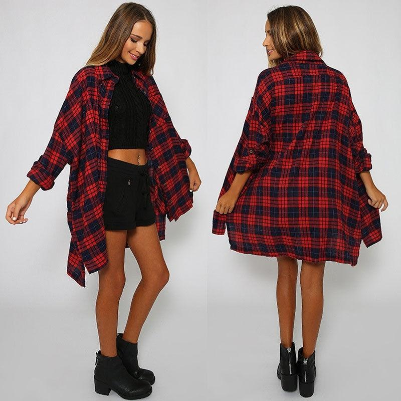 2015 Fashion Women Ladies Plaid Checked Casual Loose Cotton T shirt Tops Blouse