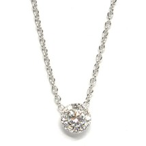 Necklace White Gold 750 18k,Central & Frame of Diamonds,0.24 CT,Flower,Rolo ' image 2