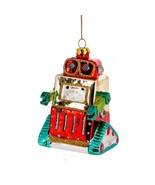 "ROBOT GLASS ORNAMENT 4"" Cute Tank Style Retro Outer Space Sci Fi Christm... - $16.95"