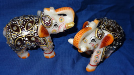"3"" Marble Turning Set of two Painted Elephant Handmade Safari Handmade A... - $56.33"