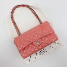 AUTHENTIC Chanel PINK PATENT QUILTED LEATHER MEDIUM Classic Double Flap Bag SHW image 1