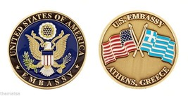 "AMERICAN EMBASSY ATHENS GREECE CROSSED FLAGS 1.75"" CHALLENGE COIN - $16.24"