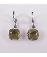 Catherine Popesco Silver Large Khaki Swarovski Crystals Earrings - $40.99