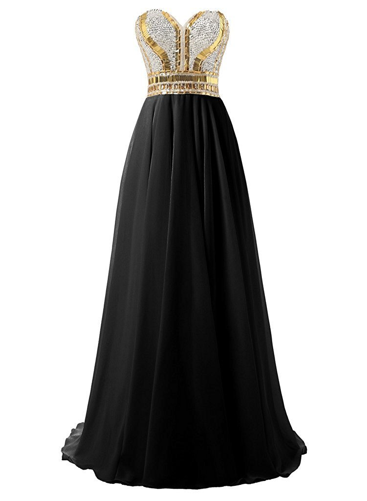 Women's Sweetheart Gold Sparkle Long Chiffon Prom Evening Gown 2018 Prom Dresses