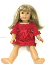 American Girl Blond Hair Green Eyes 18 Inch Girl Doll Red Dress Kids Doll EUC - $74.20