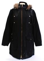 Calvin Klein Shimmer Black Zip Front Hooded Long Jacket Women's NWT - $149.99