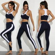 Women's Black And White Seamless Push up Compression Yoga Sportwear Outfit image 7