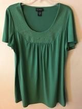 14/16W Lane Bryant Green Short Sleeve Top w/embroidered Neckline - $14.96