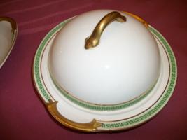 Vintage Johnson Bros 3 piece, vintage round covered butter dish Green  G... - $33.66