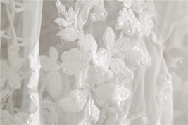 White Floral Tulle Lace Tops Bridesmaids Crop Lace Shirts-crop sleeve,white,plus image 3