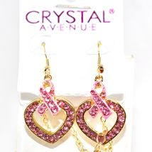 Crystal Avenue Breast Cancer Awareness Heart in Ribbon Necklace & Earring Set image 5