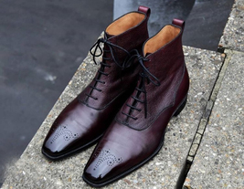 Handmade Men's Burgundy Leather High Ankle Lace Up Brogues Boots image 3