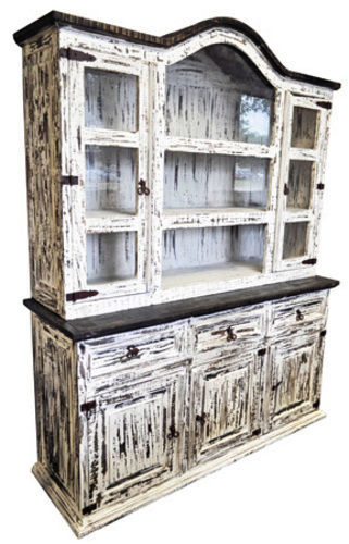 Rustic White Scraped MED 2PC China Cabinet Western Solid Wood Buffet Side Board