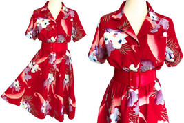 70s-80s Hawaiian Red Tropical Floral Print 100% Cotton Skater Full Circl... - $65.00