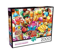 2000 Piece Jigsaw Puzzle Buffalo Games 38 in x 26 in, Delicious Desserts... - $31.30