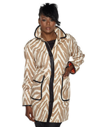 Isaac Mizrahi Live! Animal Printed Button Front Coat, Tan/Cream, Size XS, $109 - £41.72 GBP