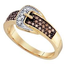 10k Yellow Gold Brown Round Diamond Belt Buckle Band Ring YG - $358.69