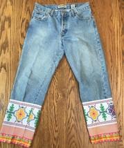 LONDON JEAN Womens Denim Cropped Jeans Wide Ribbon Trim Sz 6 Button Fly ... - $22.99